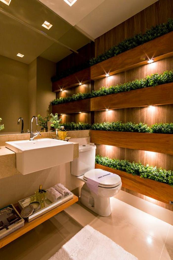 miroir lumineux salle de bain avec des étagères pour des plantes vertes avec des lumières leds