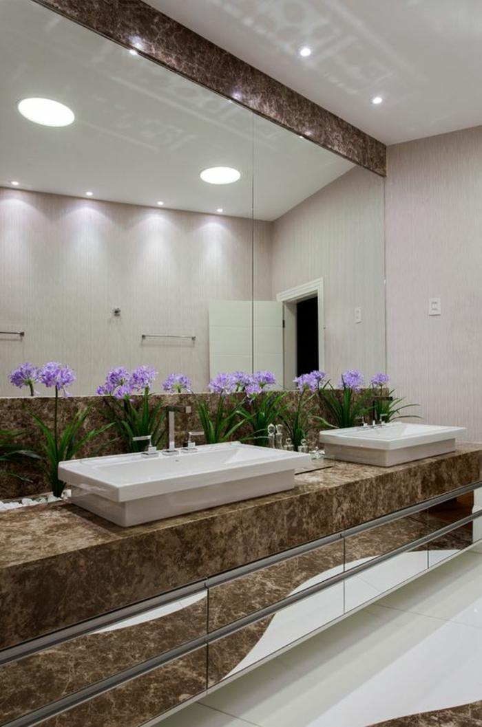 miroirs salle de bain lumineux avec effet marbre marron illumination combinée