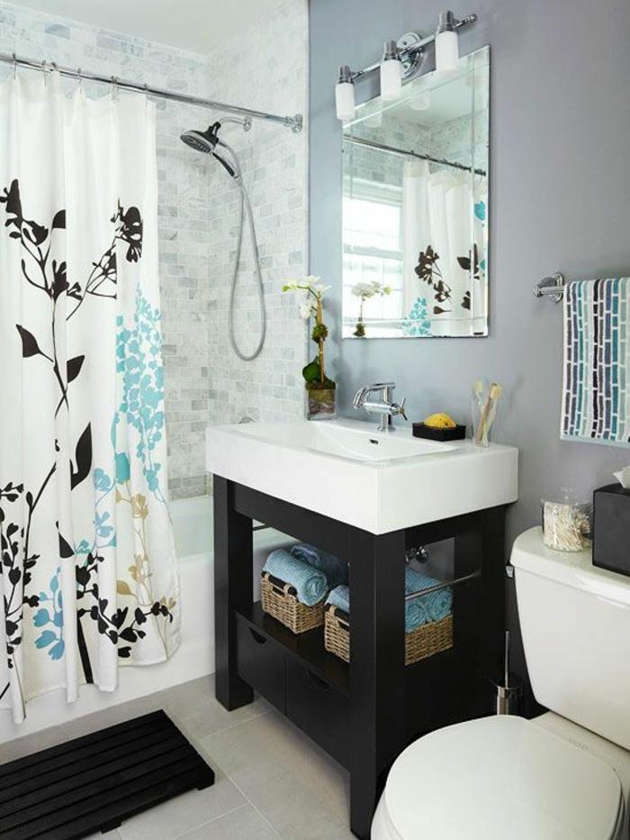 miroir lumineux de salle de bain en bleu, blanc et noir