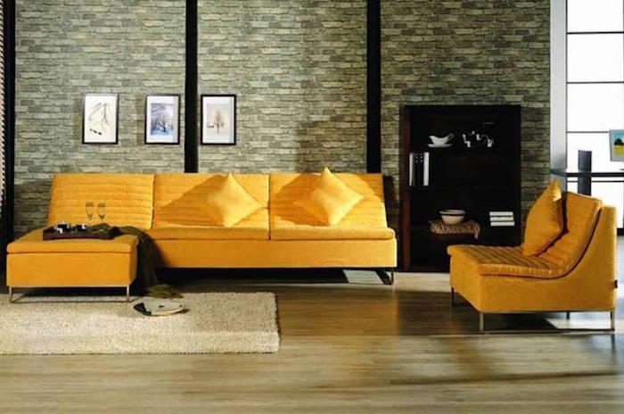 canapé tissu jaunes boudins style salon ancien