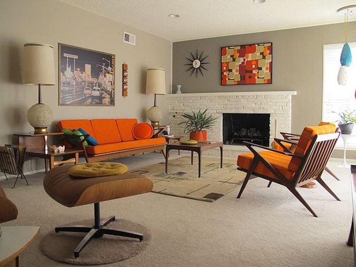 idee deco salon séjour vintage avec meubles anciens
