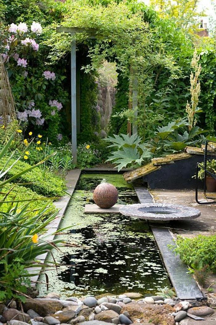 bouddha deco exterieur, plantes vertes, bassin d'eau avec mousse, galets, déco de jardin zen