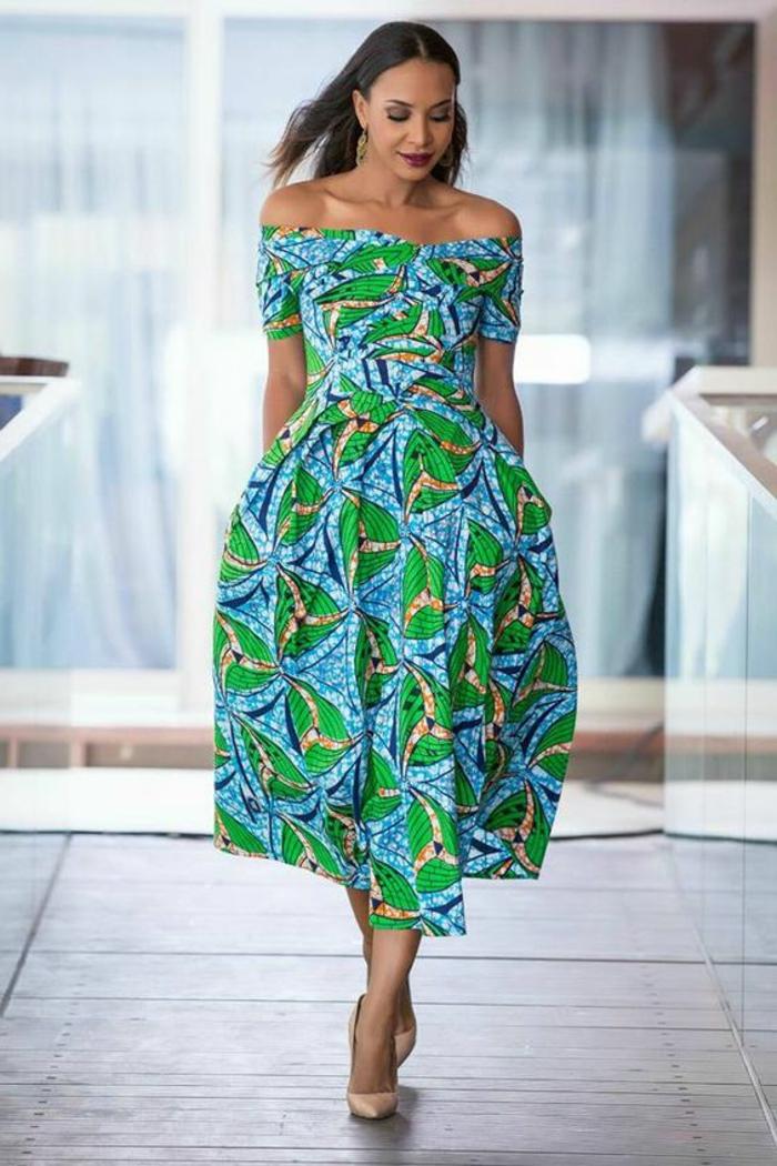 modele robe pagne, robe épaule tombée en couleurs bleu et vert
