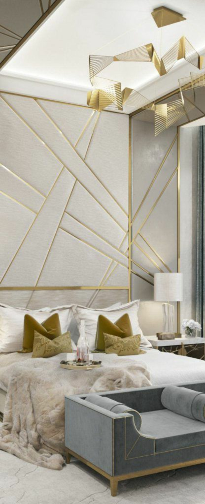 période art déco, chambre à coucher en gris et doré, motifs graphiques aux murs