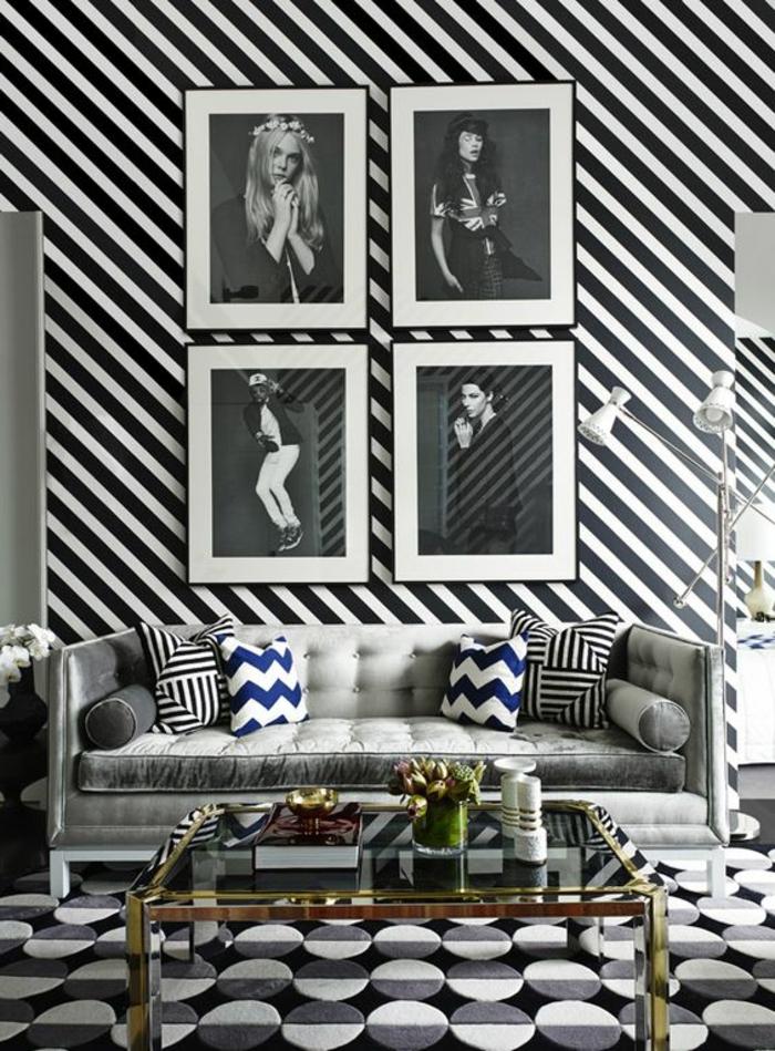 période art déco, papier peint graphique, photographie noire et blanche, sofa gris