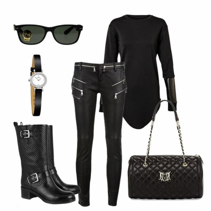 que mettre avec un pantalon noir, pochette noire, lunette de soleil, montre noire avec cristaux