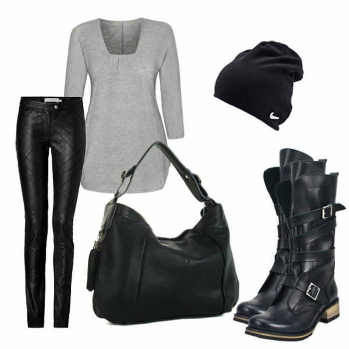 que mettre avec un pantalon noir, blouse grise, sac à main en cuir, bottes noires, bonnet Nike