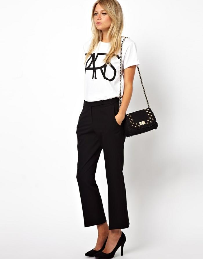 que mettre avec un pantalon noir, t-shirt blanc paris, pochette avec studs, pantalon 7/8