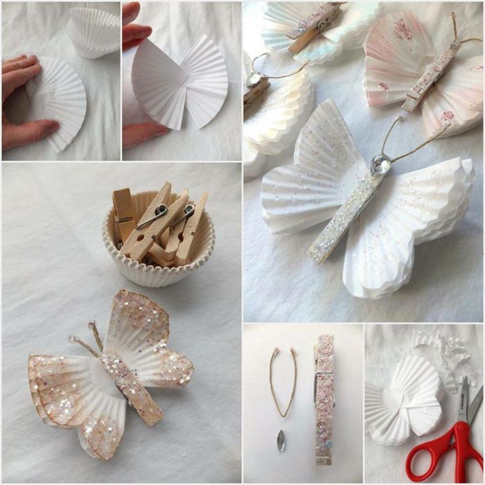 réaliser un joli papillon pailleté à partir d'une pince à linge en bois et une caissette à muffin recyclée