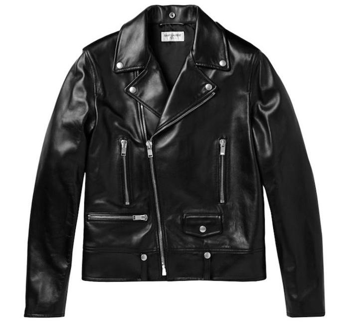 blouson en cuir yves saint laurent style perfecto noir