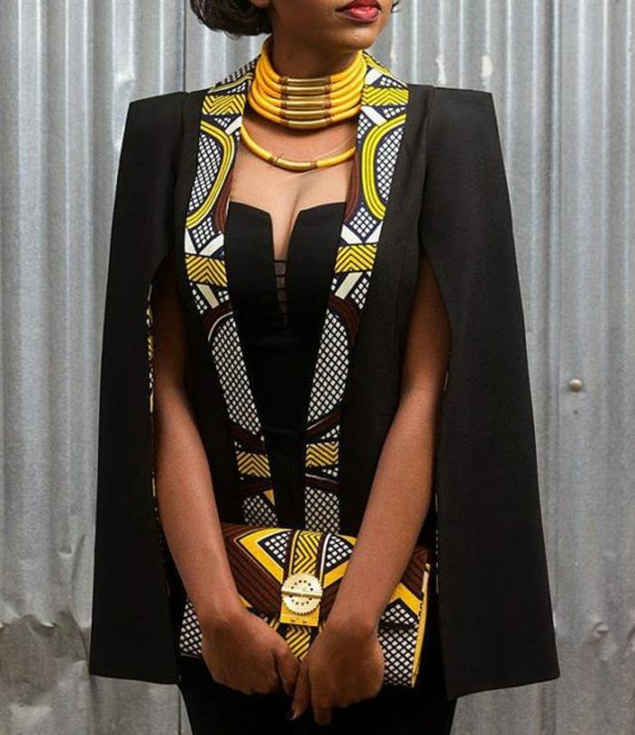 Jolie robe en pagne modèle de pagne africaine tailleur noir et jaune