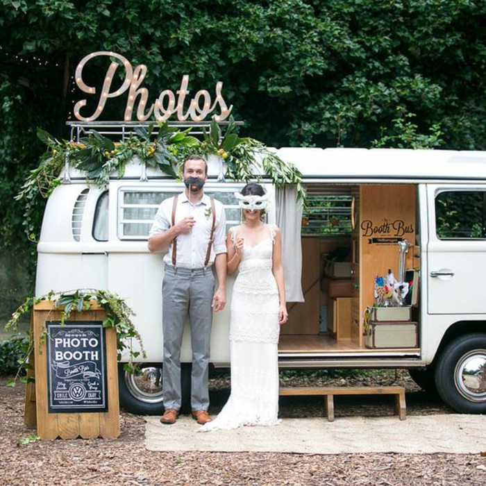 bus hippie transformée en photomaton mariage, un mariage dans l'esprit bohème
