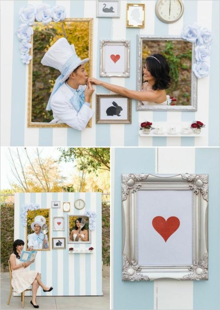 un photomaton mariage inspiré du monde merveilleux d'Alice