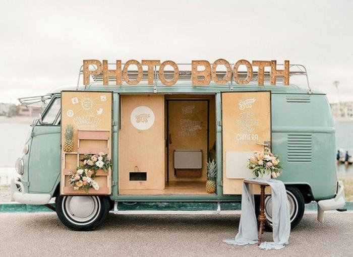 idées originales pour réaliser des photos de mariage instantanée, photomaton mariage nomade