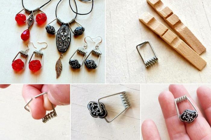 une idée ingénieuse pour réutiliser le ressort d'une pince à linge, des pendentifs bijoux