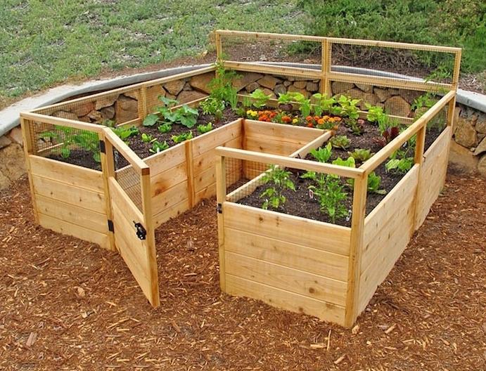 jardinière carrée potager hors sol en bois avec porte