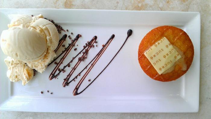 Gateau individuel assiette gourmande art pâtisserie glace