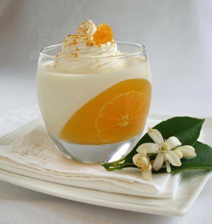 Dessert individuel présentation assiette dessert art orange