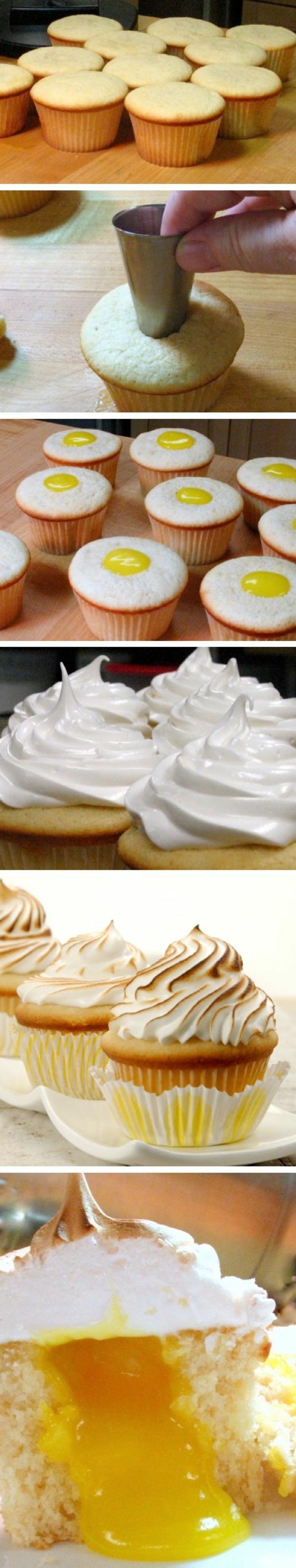 recette cupcake facile à la vanille avec meringue citron, idée comment préparer des cupcakes étape par étape