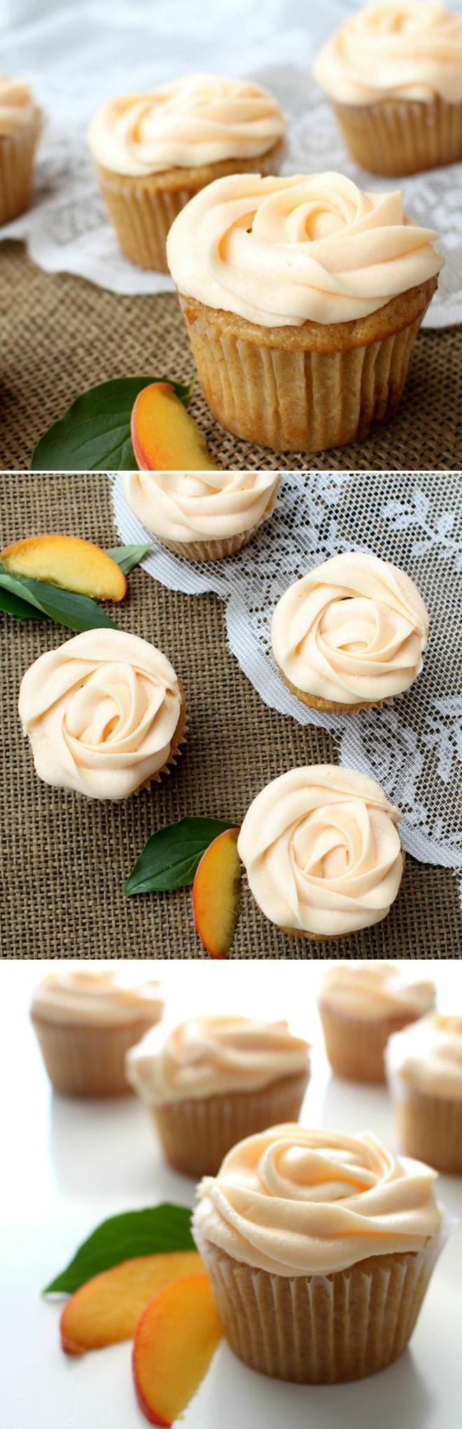 dessert facile et rapide, recette cupcake à la pêche, glacage cupcake au beurre couleur pêche en petites roses