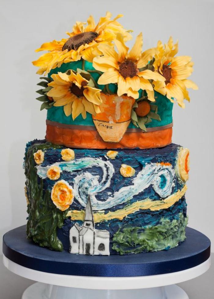 Idée gâteau anniversaire homme gateaux pour anniversaire art Van Gogh gâteau
