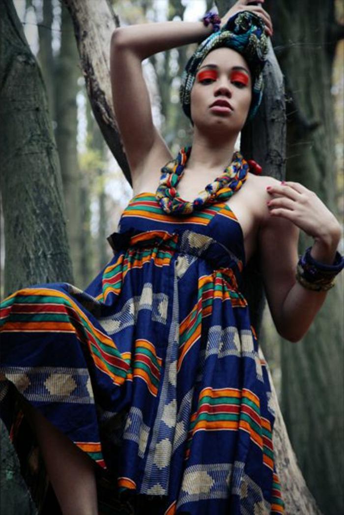 robe africaine wax, collier ethnique, bandana turban, habit style africain