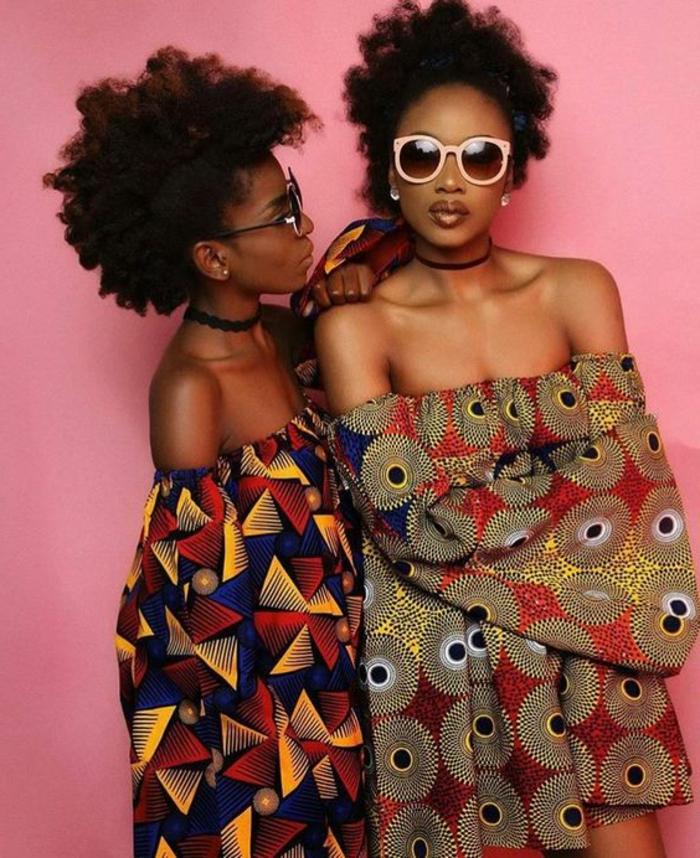 robe africaine wax, robes modernes aux imprimés ethniques, lunettes de soleiil