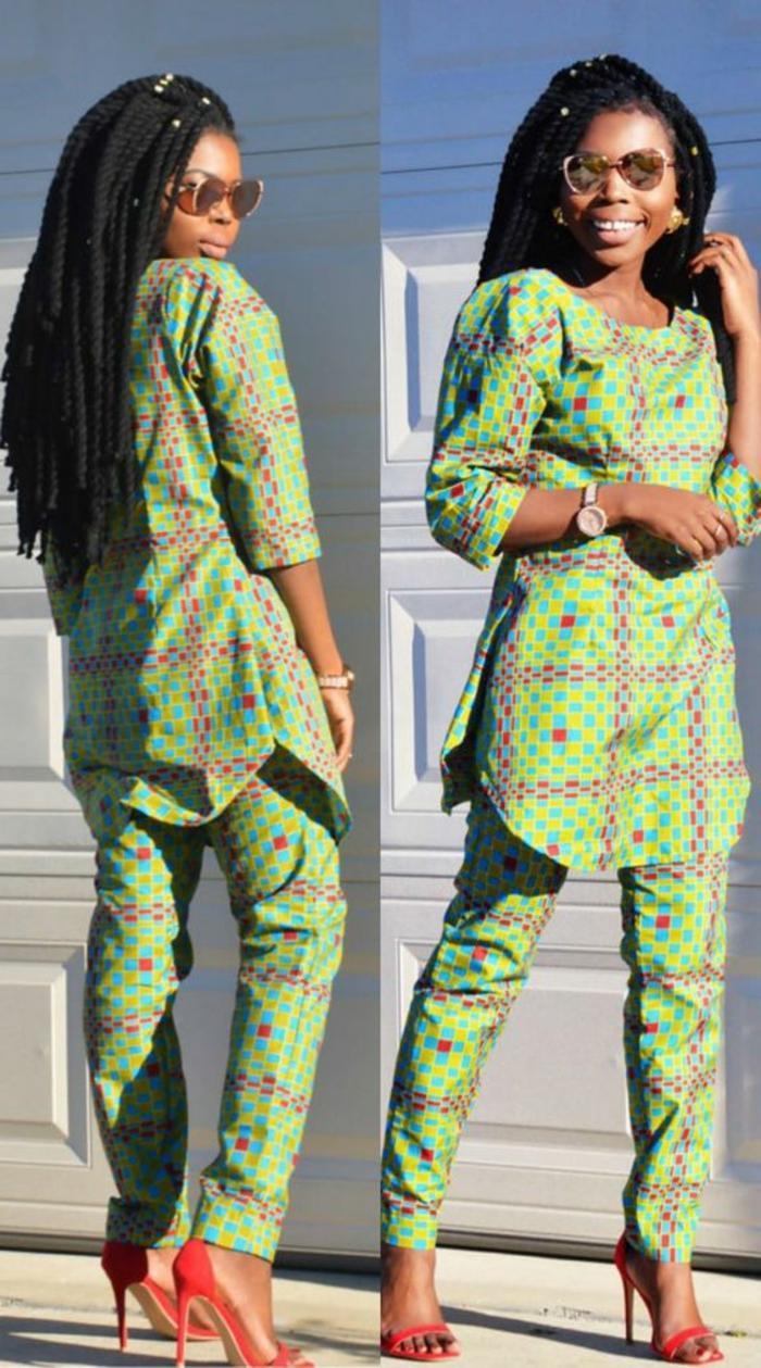tenue africaine chic de tous les jours, coiffure africaine en tresses