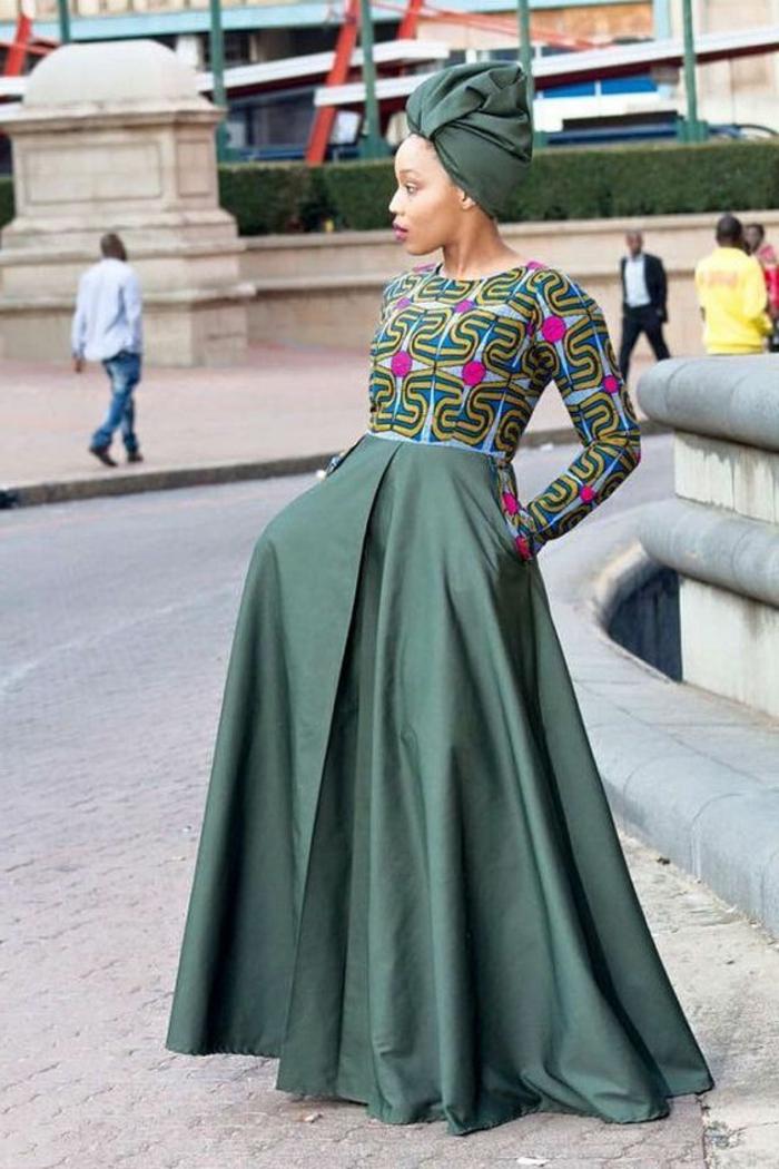 robe africaine wax, robe originale en vert et lilas, turban