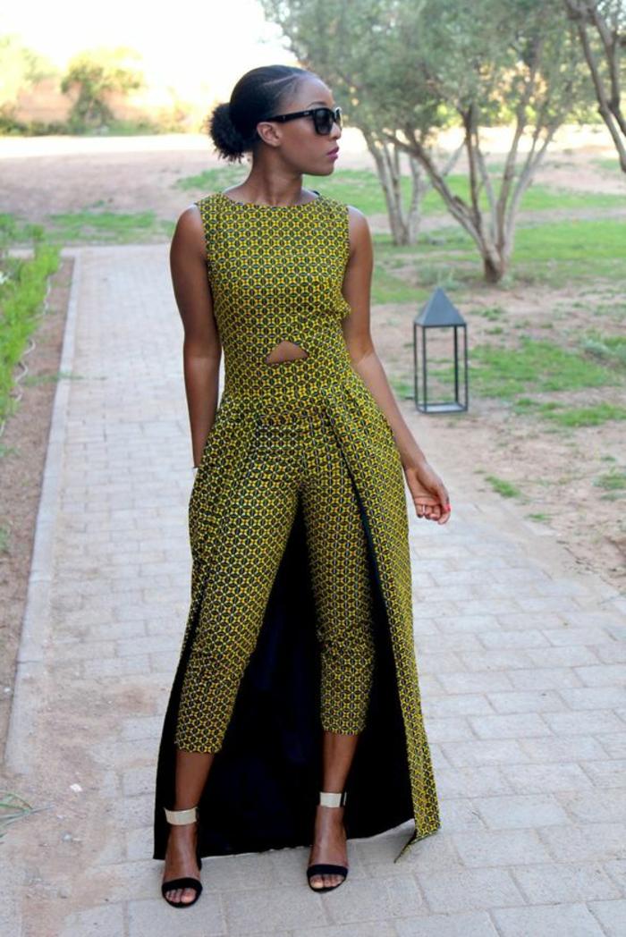 robe africaine wax, pantalon et top long évasé, chignon bas, lunettes de soleil