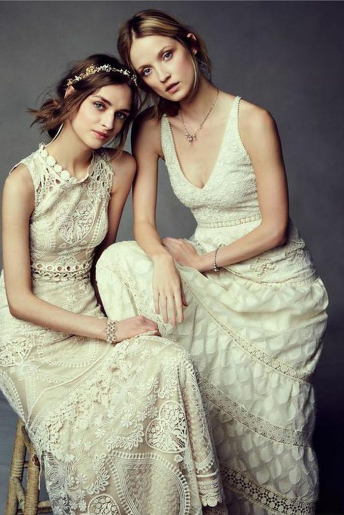 robe de mariée couleur champagne, deux robes vintage et coiffures boho chic