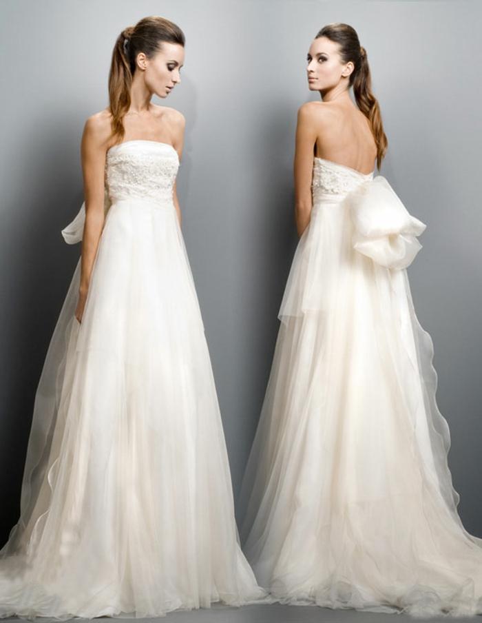 une robe mariée sublime à grand ruban, robe mariée empire à bustier droit