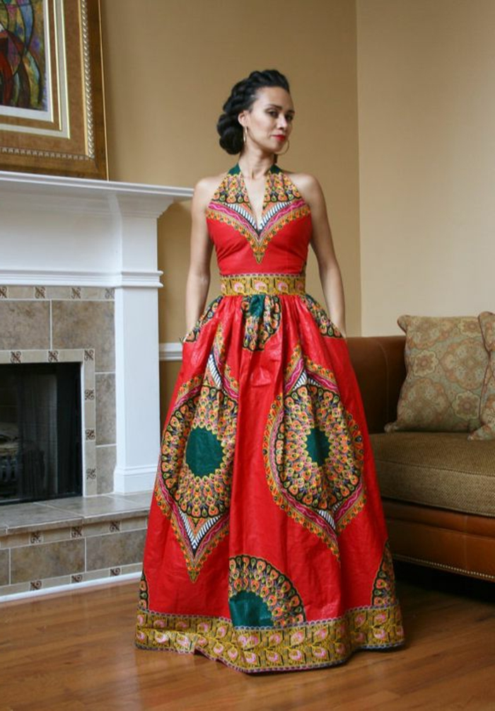 Model de robe de soiree en pagne