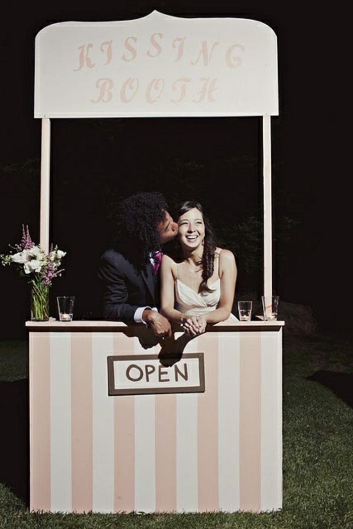 aménager un stand baisers, idée originale pour un fond photobooth