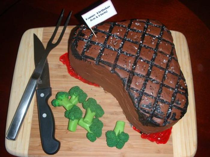 Dessert d anniversaire gateau d anniversaire original pour adulte comme steak et brocoli