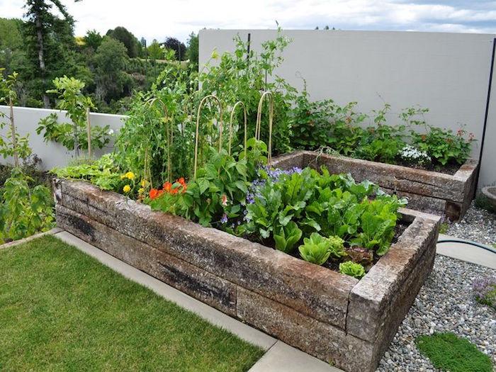 potager hors sol en pierre en u pour jardiner