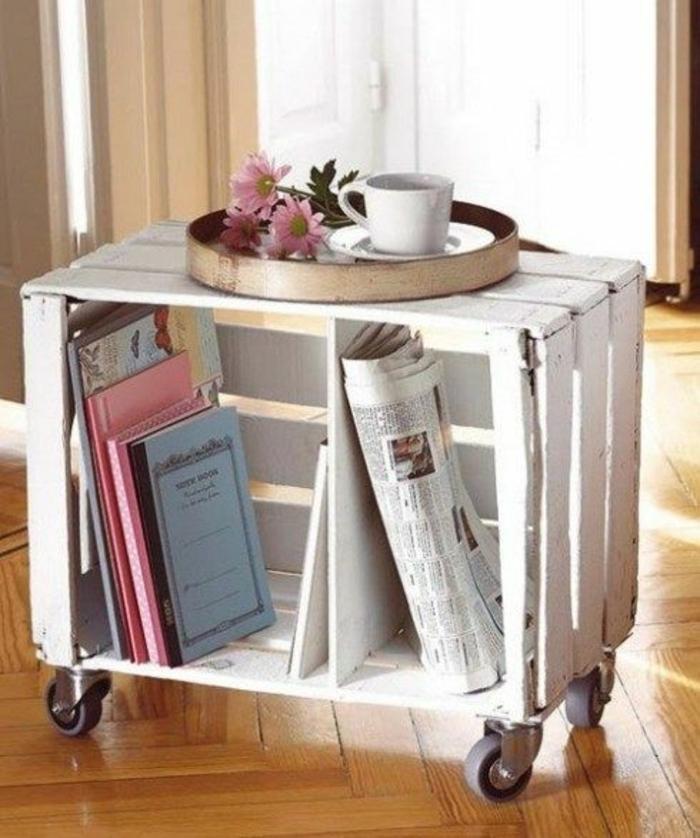 table de service à roulettes en cagette bois blanche, plateau de service, café, fleurs, rangement journaux, magazines, livres