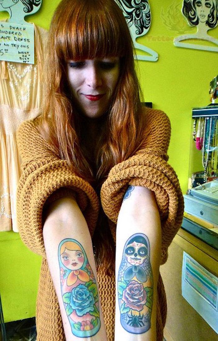 graphique tarif tatouage poupées russes femme couleurs