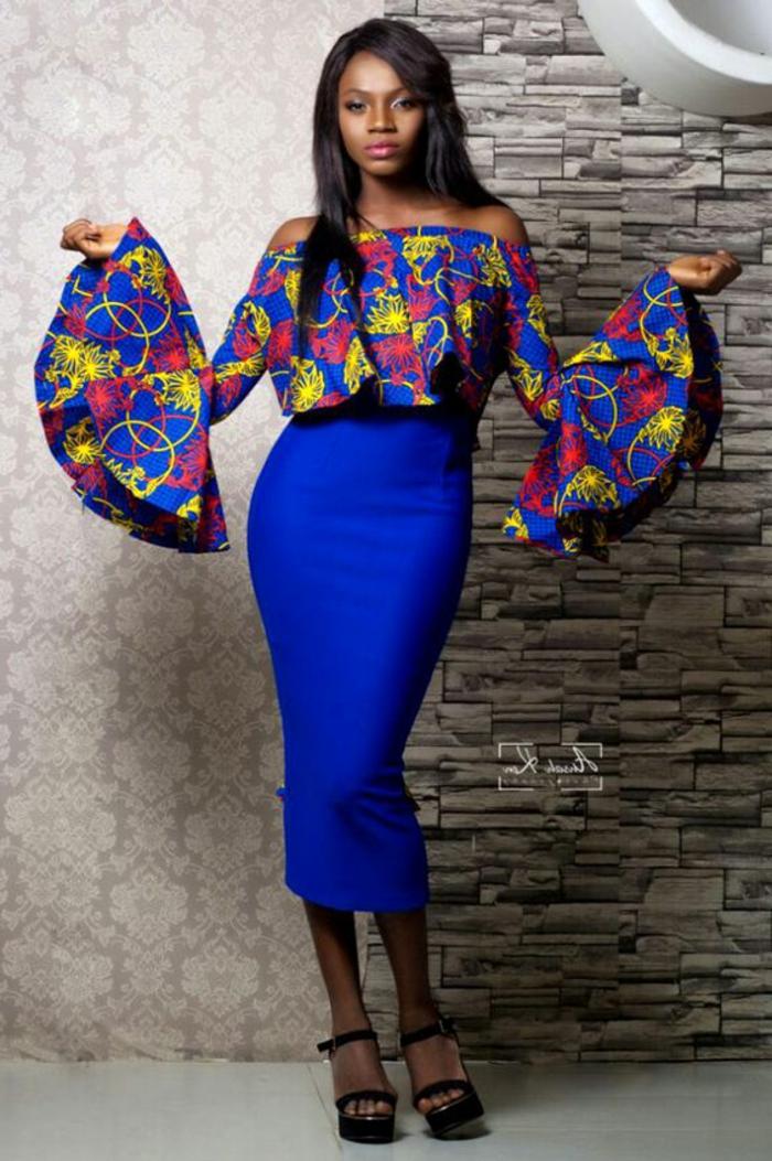tenue africaine, jupe midi longue, chemise colorée et manches avec grands volants
