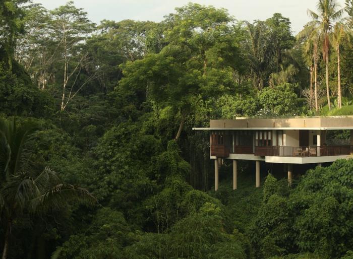terrasse sur pilotis, forêt vert, maison d'hauteur, façade blanche, rambarde en bois
