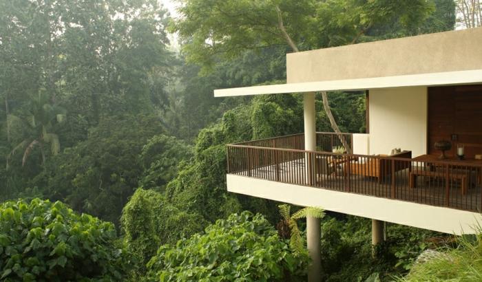 terrasse bois sur pilotis, vue sur la forêt, façade blanche, décoration murale en bois, arbres