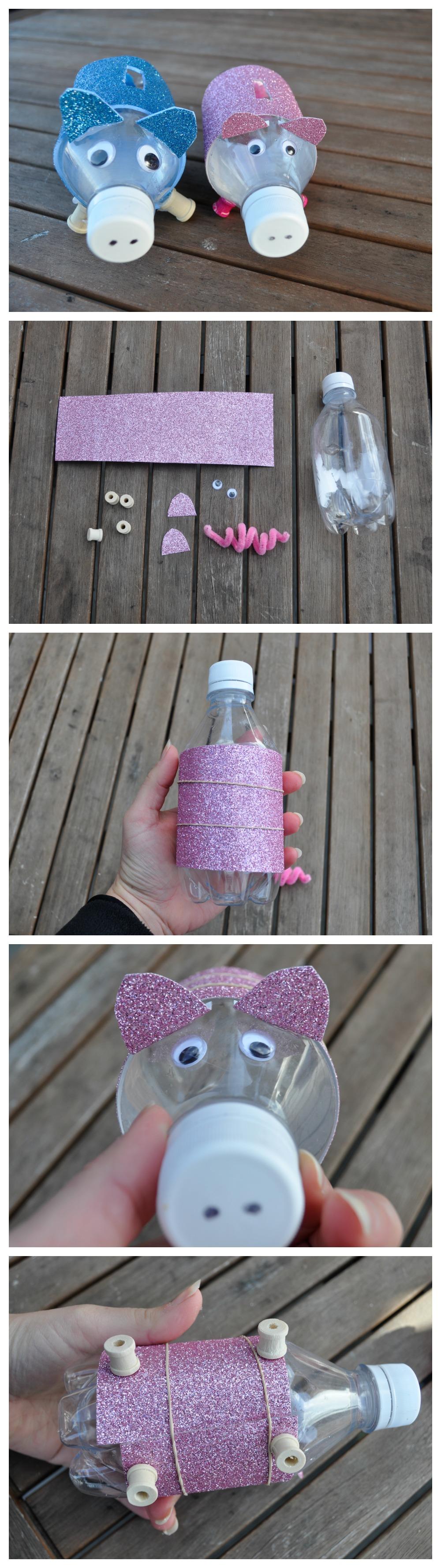 que faire avec des bouteilles en plastique, tutoriel comment faire une tirelire, papier cartonné coloré, des yeux mobiles, chenille cure-pipe