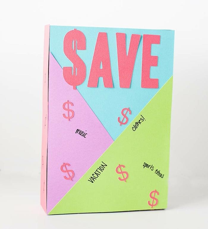 idée comment faire une tirelire en boite a cereales, decoration triangles en papier colorés, caisse pour epargner