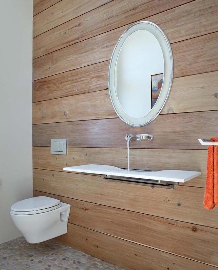 idées déco toilettes mur bois lavabo plat