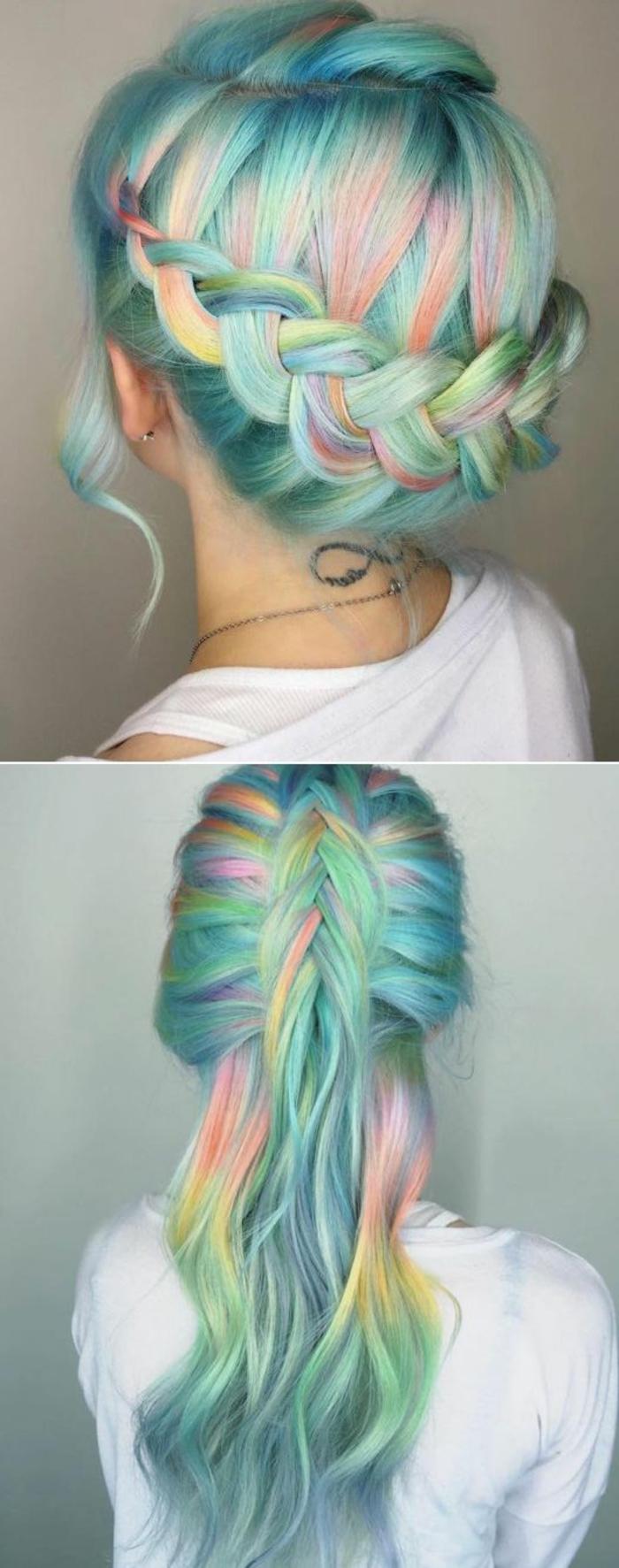 cheveux couleur arc en ciel, deux idées de tresse, couronne de tresse et demi-tresse lachée, idée de coiffure femme extravagante colorée