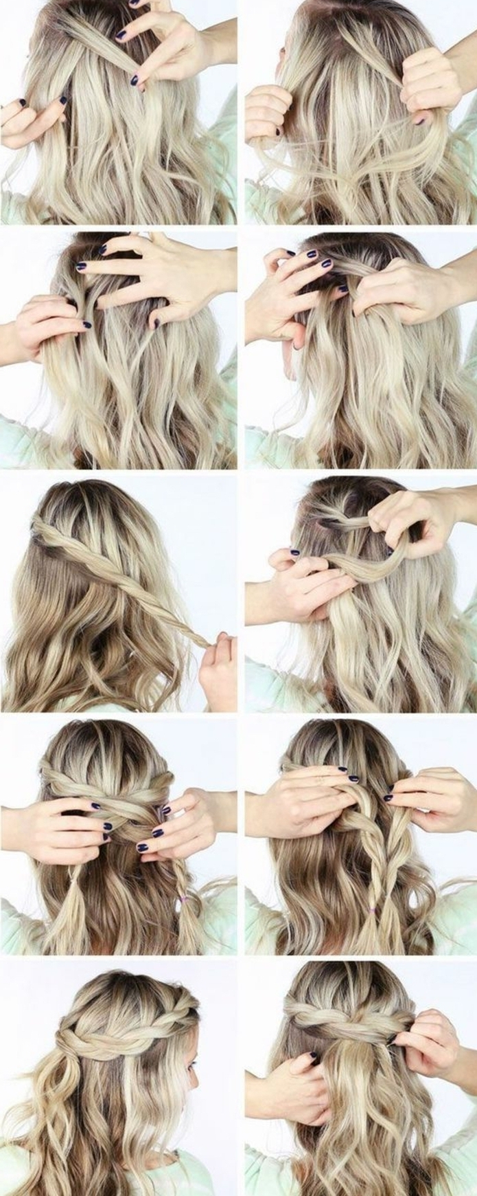 tresse collé, une couronne formée de deux tresses collées sur cheveux blonds