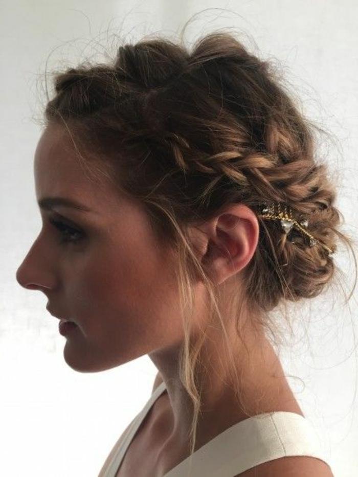 tresse collée, Olivia Palermo avec une tresse couronne chignon