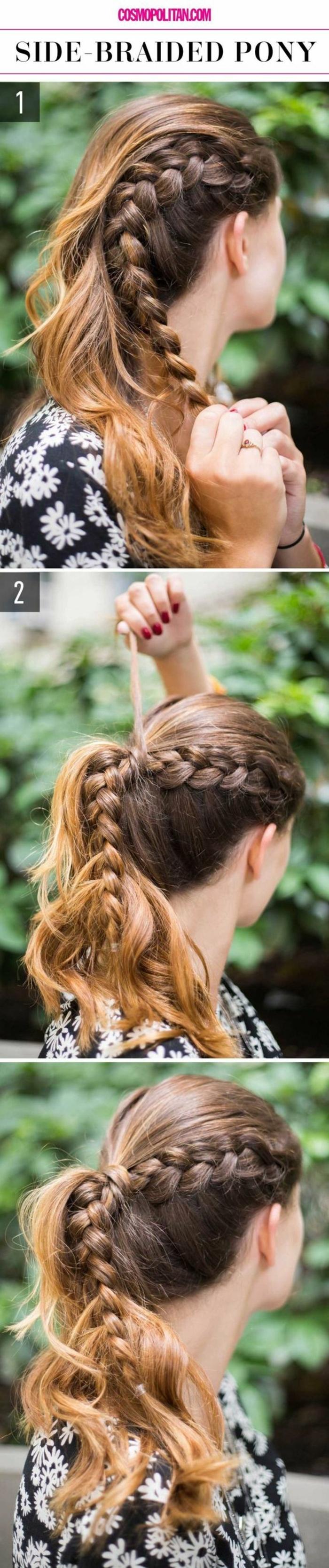 tresse collée attachée avec le reste des cheveux, longs cheveux