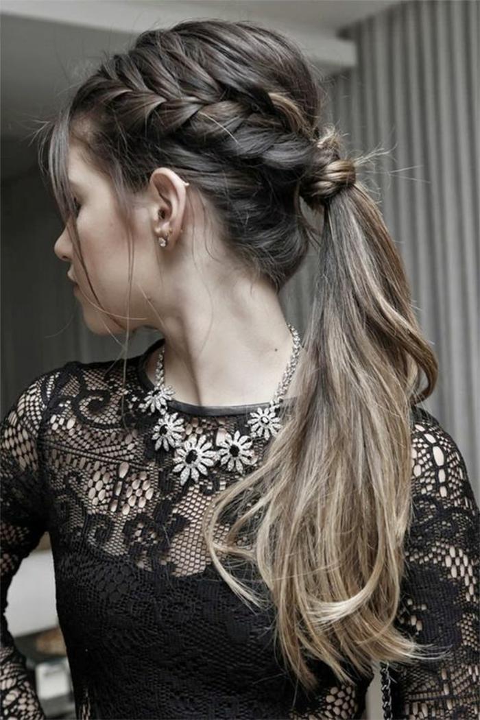 tresse collée, queue de cheval et natte collée sur cheveux très longs