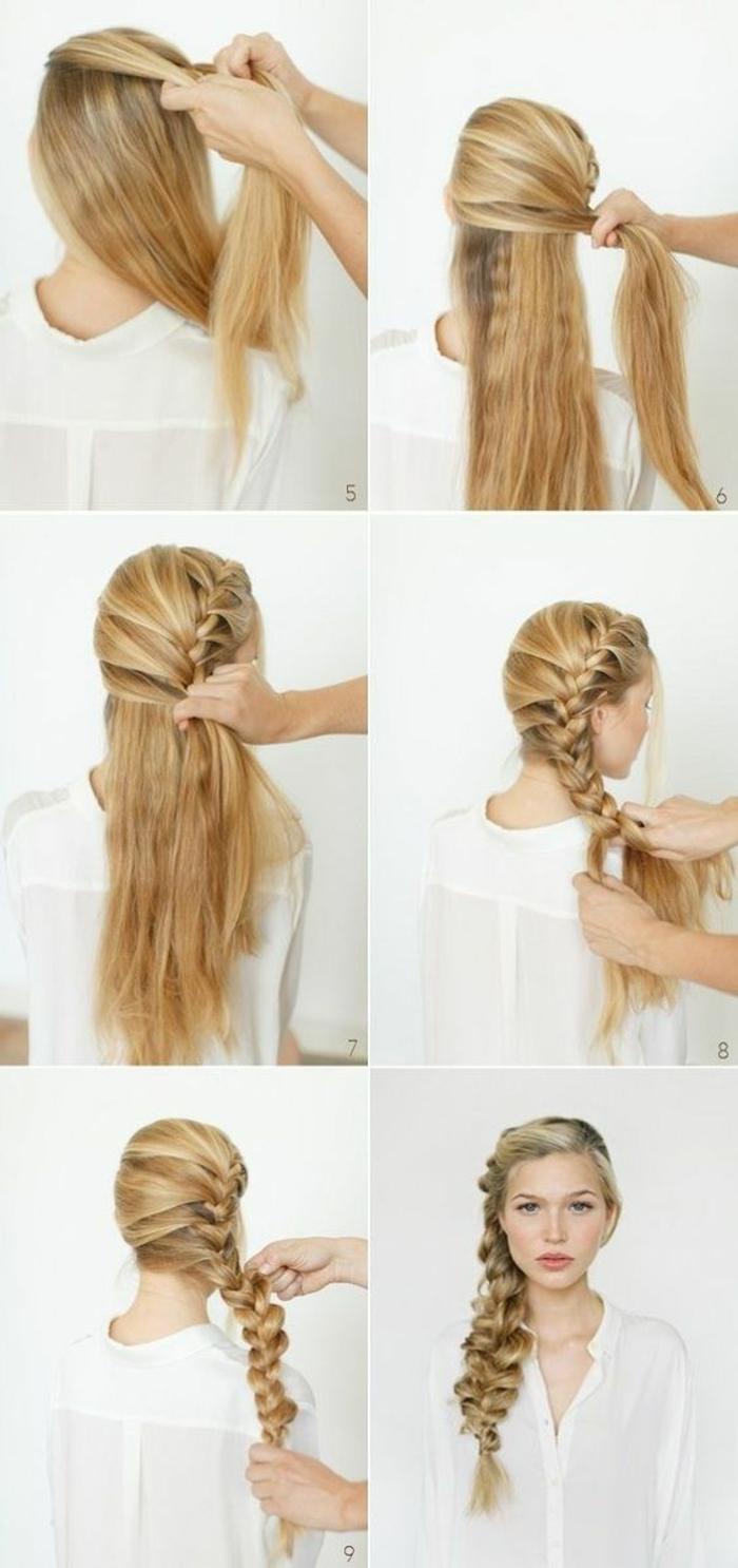 tresse collee, coiffure tresse de côté de cheveux blonds